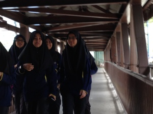 KL girls on Pedestrian bridge